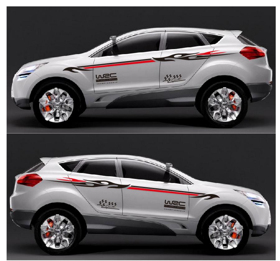 1 Pair Car Vinyl Decal Sticker Sport Stripe Pattern Style For Race SUV Side Body