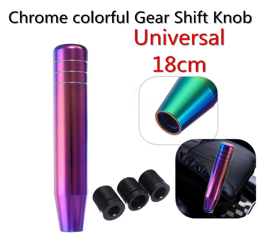 13cm 18cm Universal Auto Car Manual Gear Shift Knob Shifter Lever Aluminum Neo Chrome 18cm