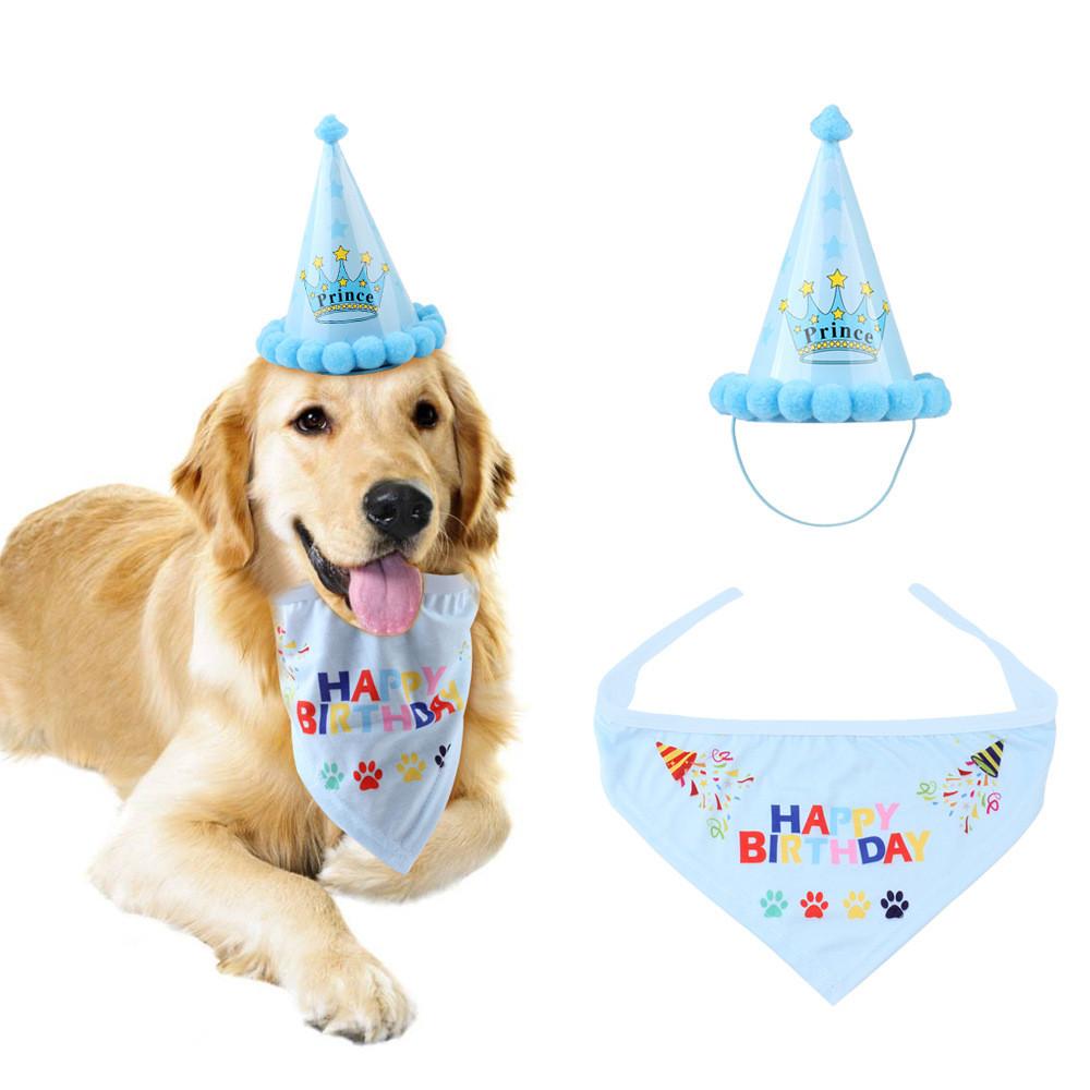 Perro Gato Mascotas feliz Cumpleaños Sombrero Headwear Bandana Pañuelo Para El Cuello Lazos Fiesta Decoración UK