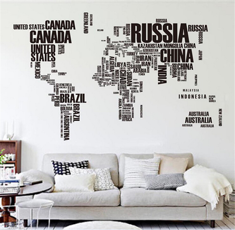 Removable Wall Stickers Letter World Map Quote Vinyl Decal Art Mural Home  Decor