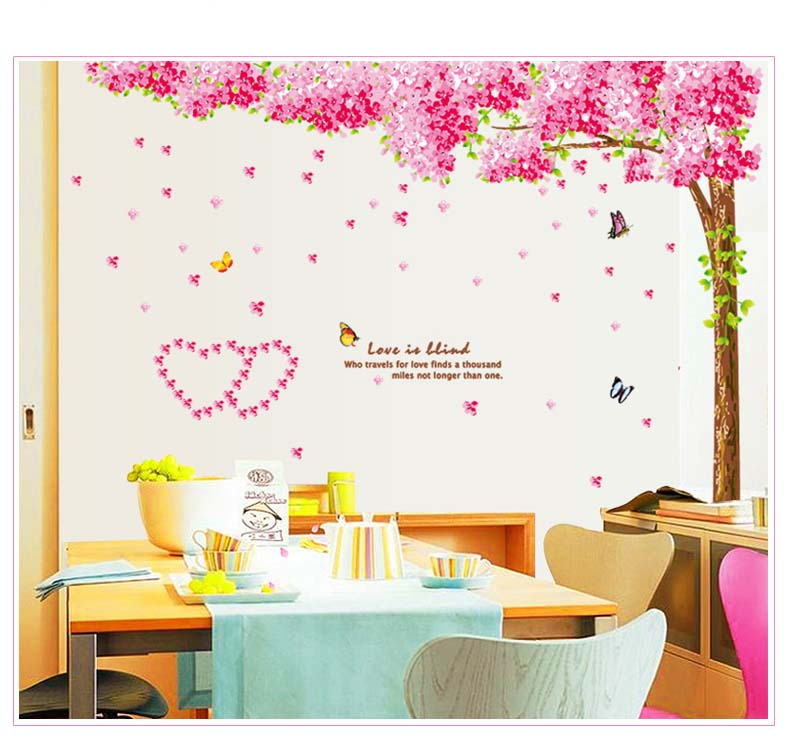 Large Pink Cherry Blossom Flower Tree Wall Sticker Mural Living Room Decor  Decal Part 58