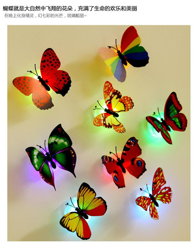 Colorful Changing Butterfly LED Night Light Lamp Home Room Party ...