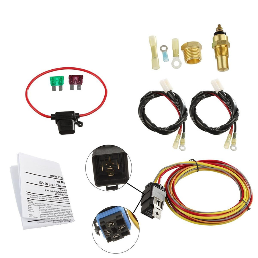 Details about 12V 185/165 Car Electric Dual Fan Relay Wiring Harness on