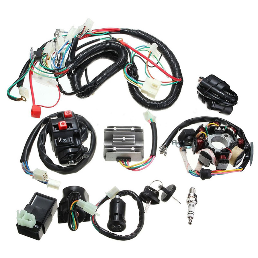 125 250cc Motorcycle Stator Cdi Coil Electric Wiring Harness Loom Assembly Kit