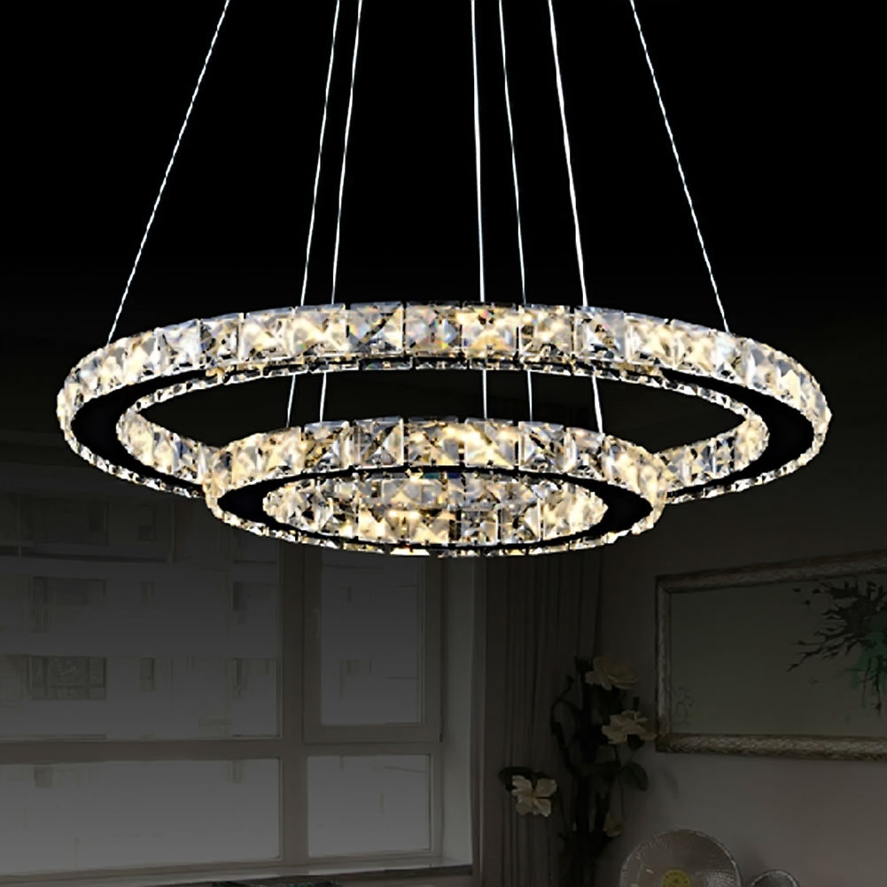 Led crystal ring chandelier pendant light lamp ceiling fixture home led crystal ring chandelier pendant light lamp ceiling fixture home oval shape ebay aloadofball Choice Image