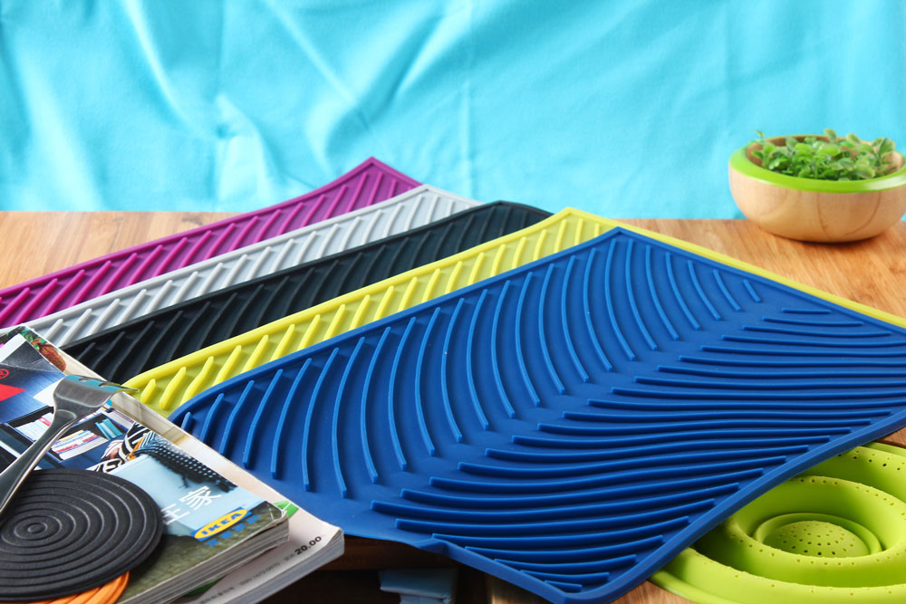Multi Color Silicone Dishes Drying Draining Mat For Kitchen Counter 15 3x9 8in