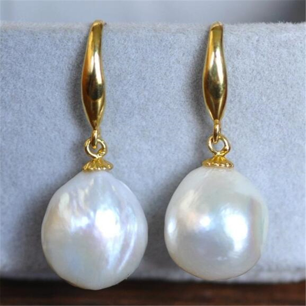 South sea Mesmerizing TwoPin aurora torus 8-9MM HUGE baroque pearl earrings 18K