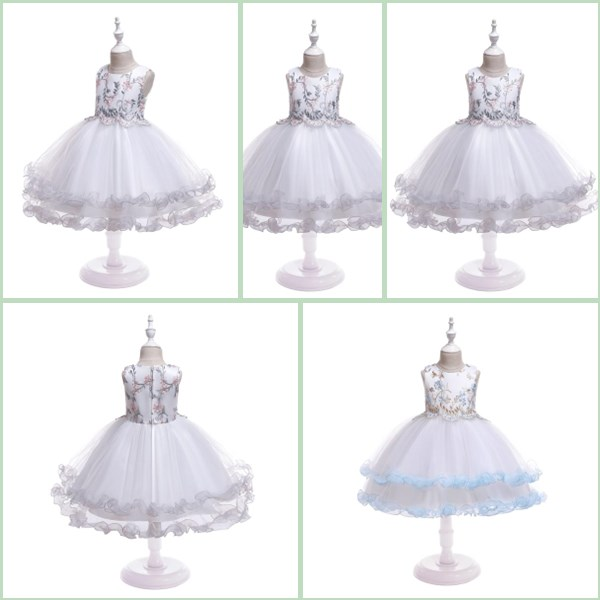 Baby Girls Bridesmaid Tutu Dress Kids Wedding Party Princess Floral Dresses