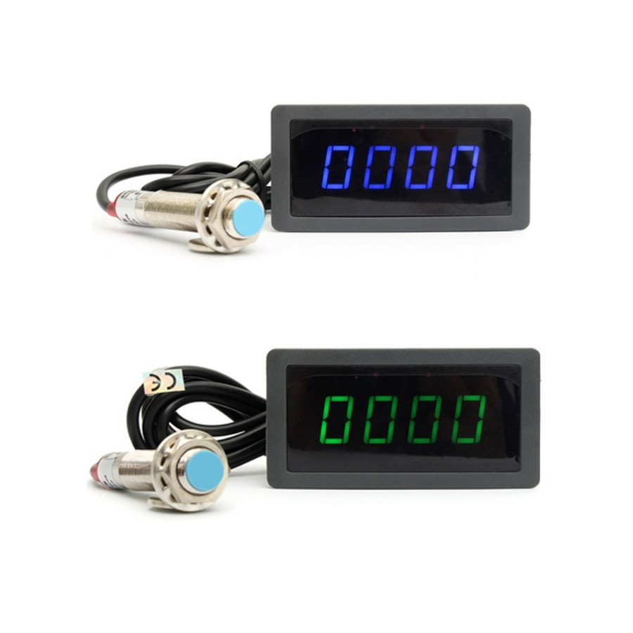 4 Digital Red Led Tachometer Rpm Speed Meter Npn Hall Proximity Tach Wiring 10 9999rpm Speedometer Pusle Signal Switch Sensor 3 Wires