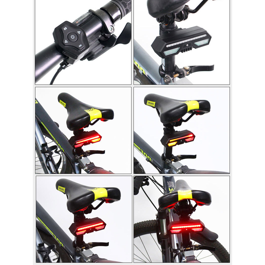Bicycle Rear LED Tail Light Wireless Remote Control Turn Signals USB Charging