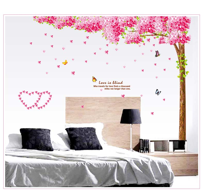 Charming Large Pink Cherry Blossom Tree Wall Stickers Art Girls Bedroom Decal  Paper_US Part 27
