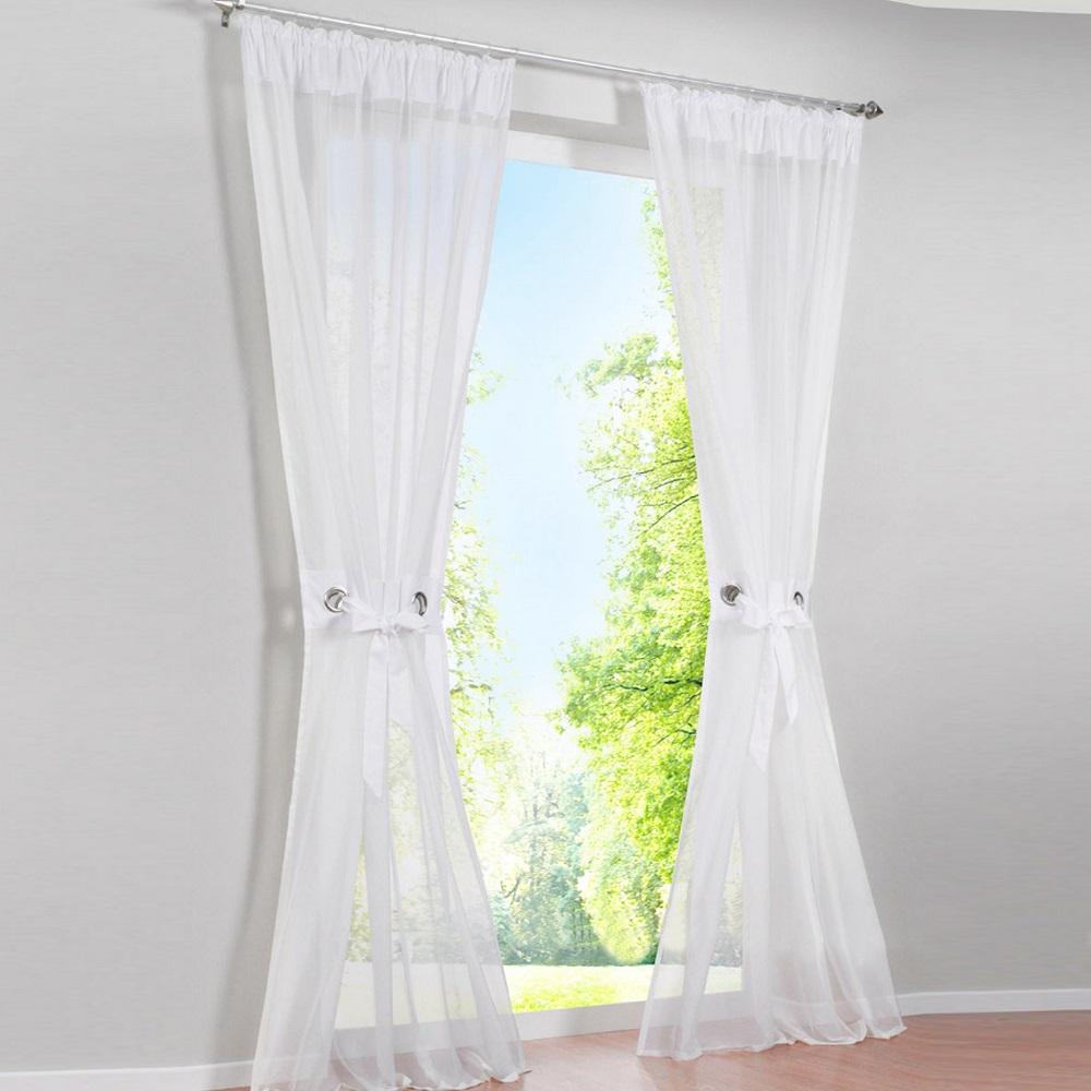 Gardinen Vorhänge Kräuselband Weiß Wohnzimmer Deko