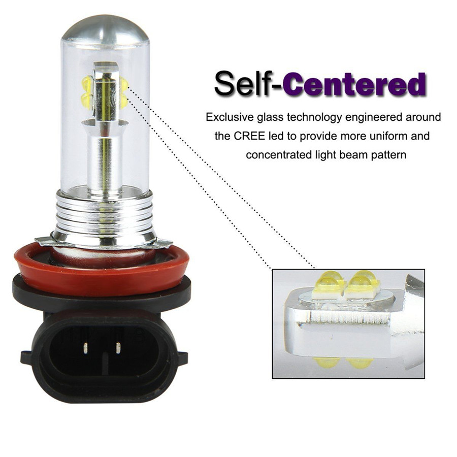 2x H8 H11 6000K 30W High Power CREE LED Fog Driving Light Canbus Lamp Bulb White