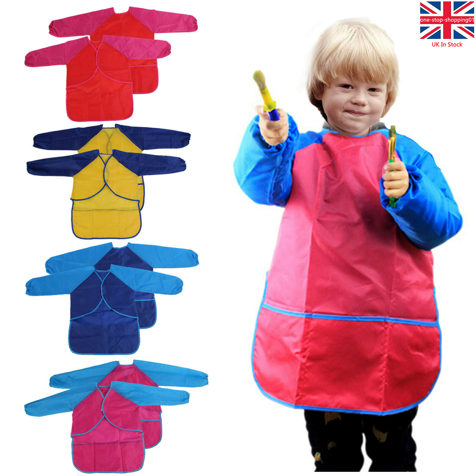 Boys Girls Kids Childs Art Painting Crafts Smock School Apron Red or Royal
