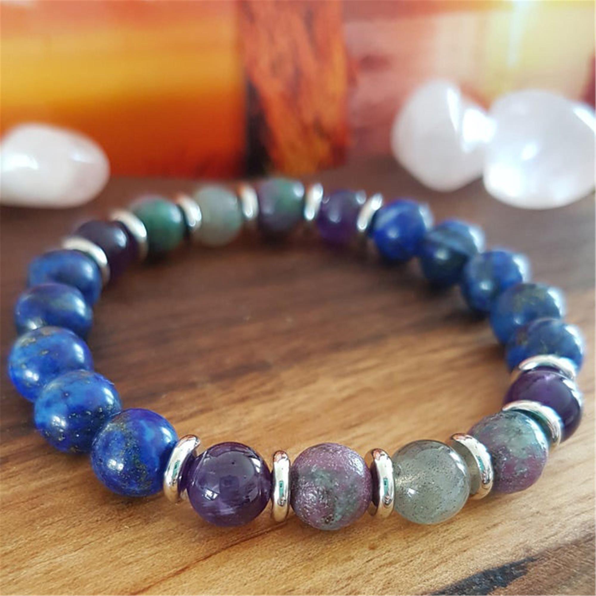 8mm Lapis lazuli Bracelet 7.5 inches Wrist Cuff Spirituality Mala Bead Pray