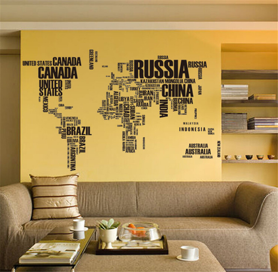 Removable Wall Stickers Letter World Map Quote Vinyl Decal Art Mural ...
