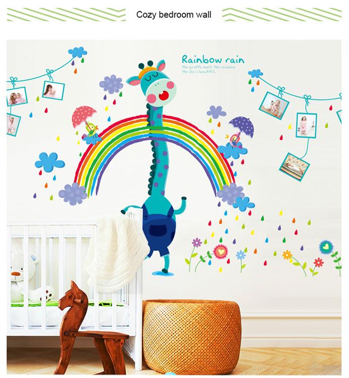 Wall Stickers Kids Room Rainbow Rain Deer Removable Nursery Diy