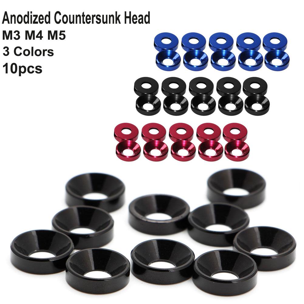10pcs M5 Black Anodized Countersunk Head Washers Aluminum Alloy Gasket
