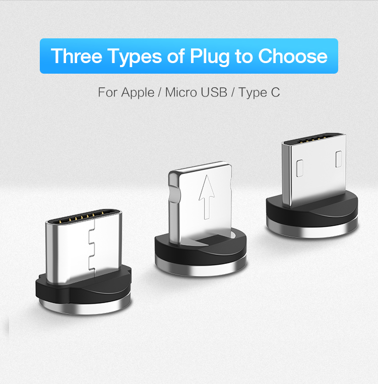 Braided Magnetic Lightning+USB Charger Charging Cable For iPhone Samsung Type-C 2