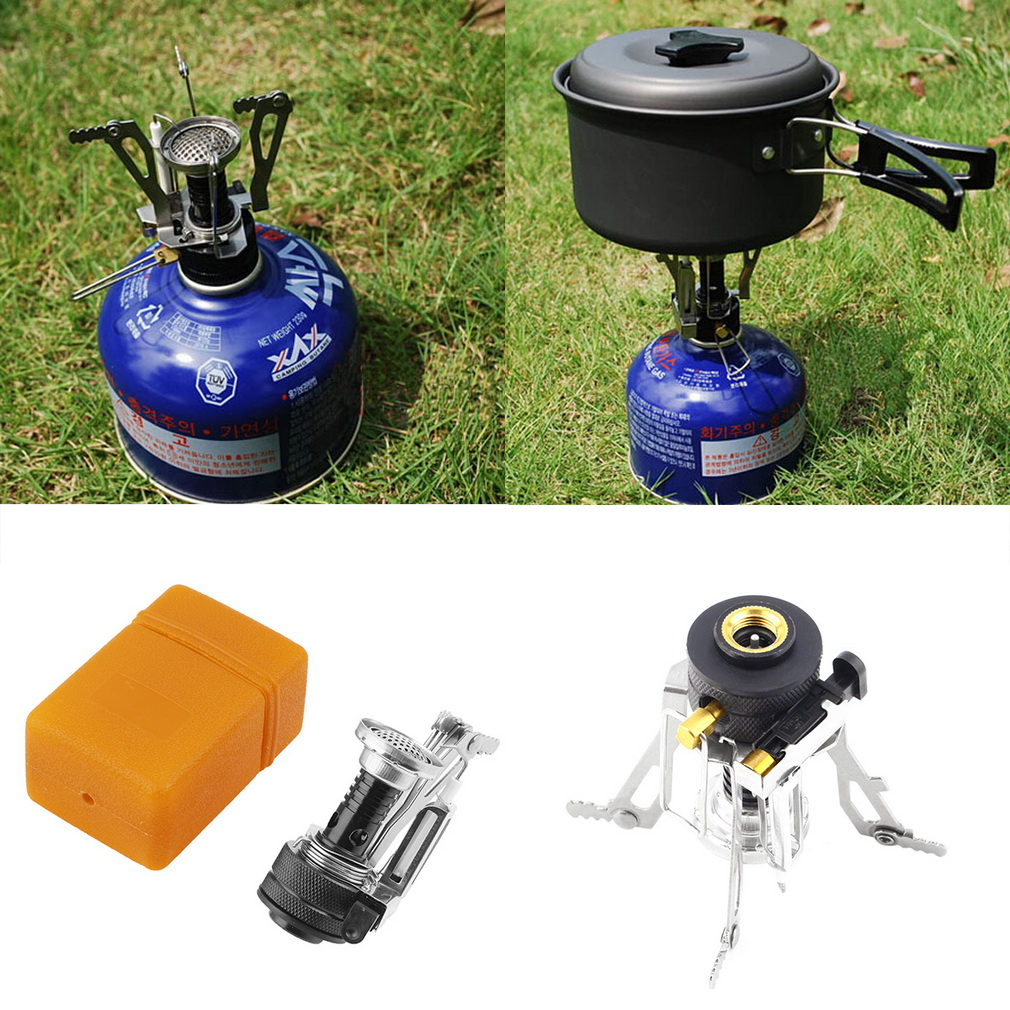 Universal Folding Mini Camping Survival Cooking Furnace Stove Gas Burner Outdoor