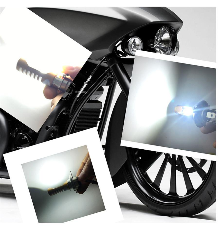 12w h4 led motorrad scheinwerfer birne fern abblend strahl. Black Bedroom Furniture Sets. Home Design Ideas