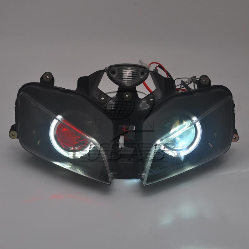 1xWhite Angel /& Red Demon Eyes HID Headlight Assembly for Honda CBR600 F5 03-06
