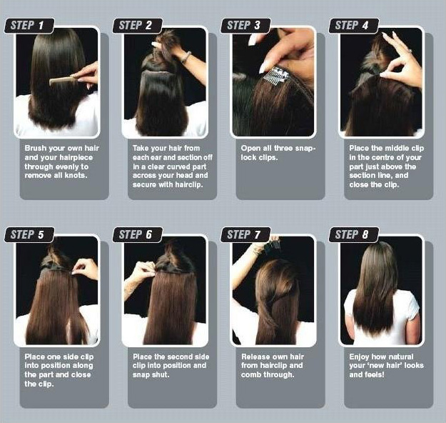 Jet Black Straight Clip In Hair Extensions Remy Human Hair Highlight