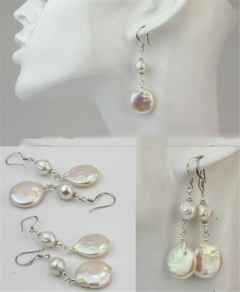 Purple green rust REAL pink AAA aurora 14-16MM HUGE baroque pearl earrings 18K