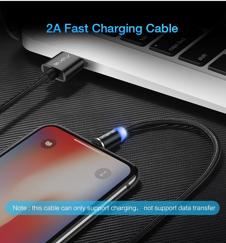 Braided Magnetic Lightning+USB Charger Charging Cable For iPhone Samsung Type-C 3