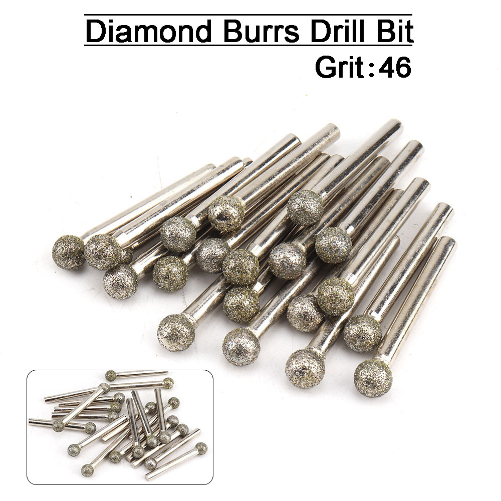 5pcs 6-30mm Diamond Grinding Heads Spherical Coated Burrs Bit for Rotary Tool