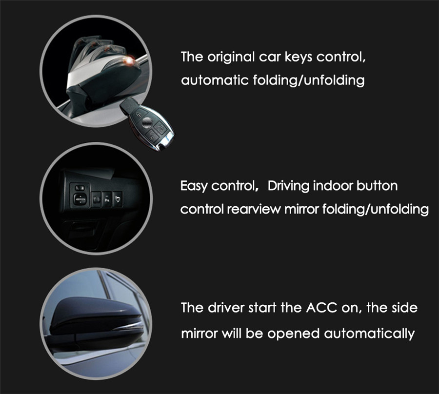 Car Side Mirror Smart Folding System Effective Anti-scratching /&Anti-collision