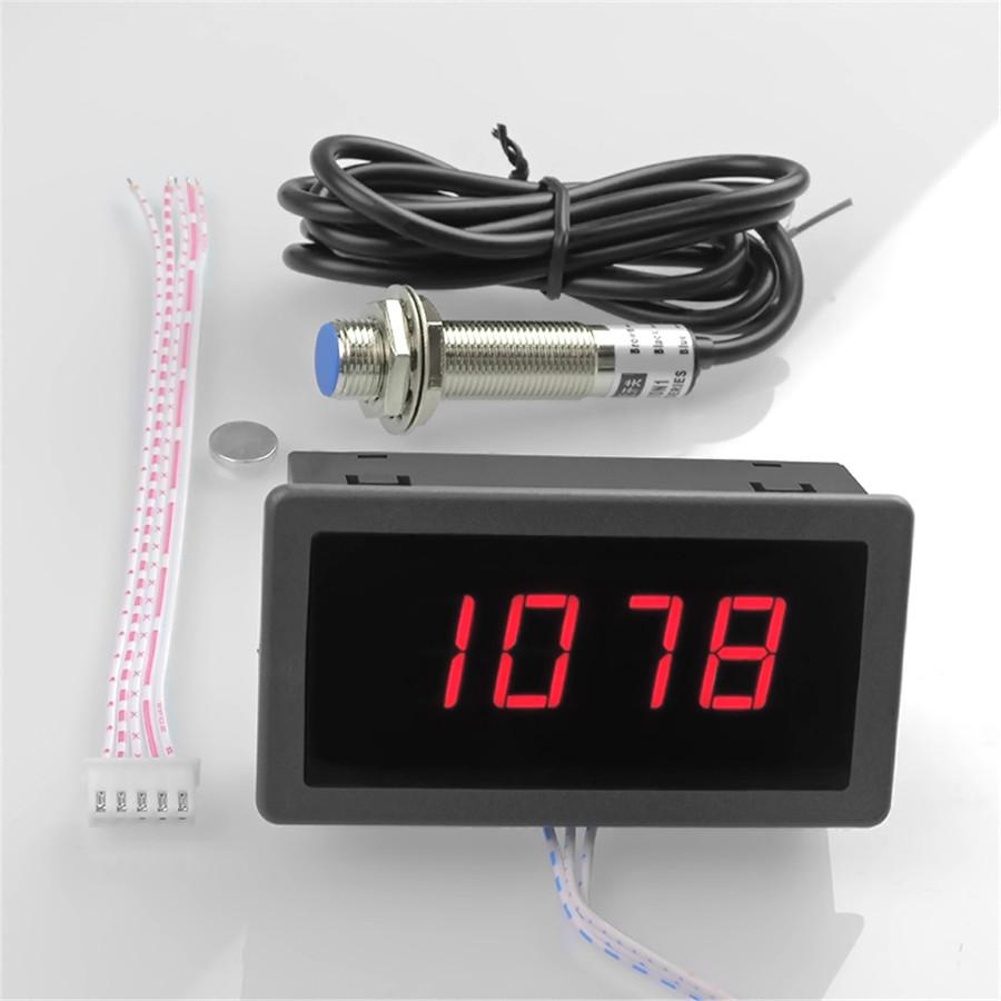4 Digital Red Led Tachometer Rpm Speed Meter Npn Hall Proximity Tach Wiring Sensor 3 Wires