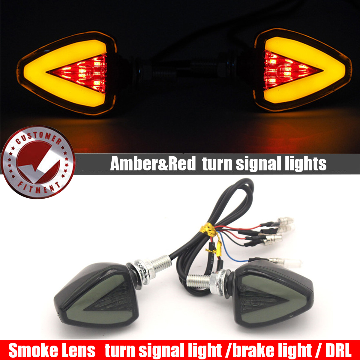 4x Black Motorcycle Turn Signal LED Blinker Amber Light Red Cap Indicator