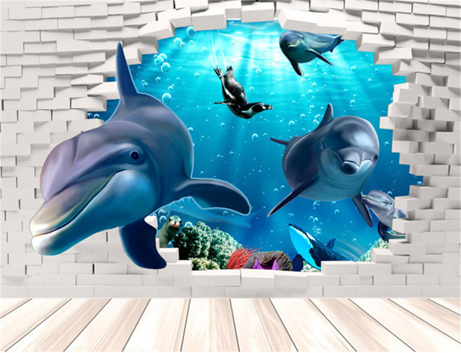 Dolphin 3d wall mural removable wall sticker art vinyl for Disegno 3d online