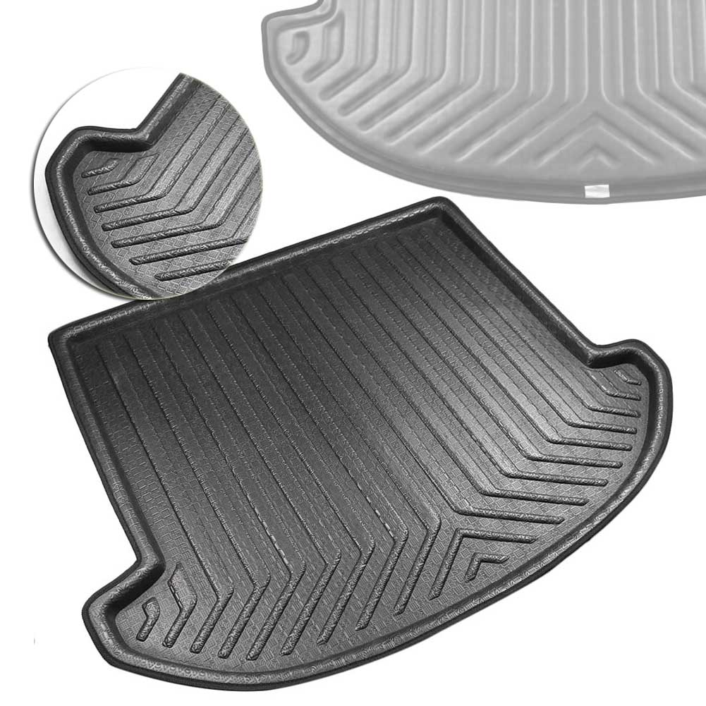 1pcs Black Color Car Boot Pad Carpet Trunk Cargo Liner Floor Mat Molded Cargo Tray Custom fit For Hyundai Santa Fe 7 Passenger 2012 2013 2014 2015 2016 2017 2018 2019