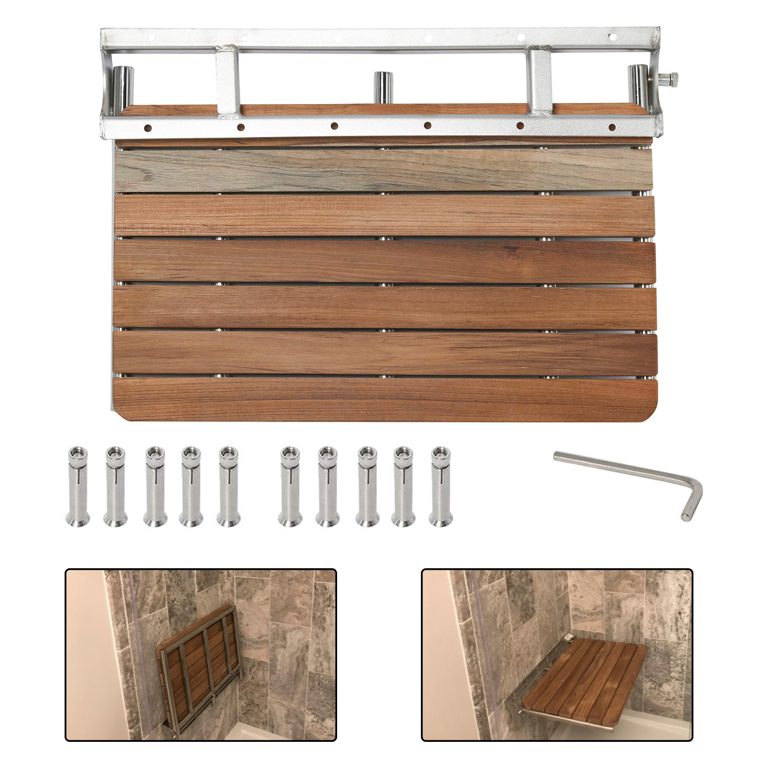 Details About New 26 6 X 18 5 Wall Mounted Teak Folding Shower Seat Bath Chair For Bathroom