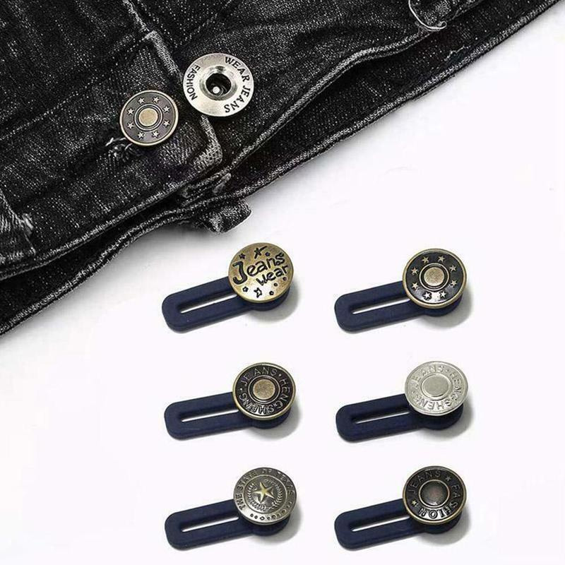Adjustable Metal Extension Button Disassembly Retractable Jeans Waist Buckle Acc