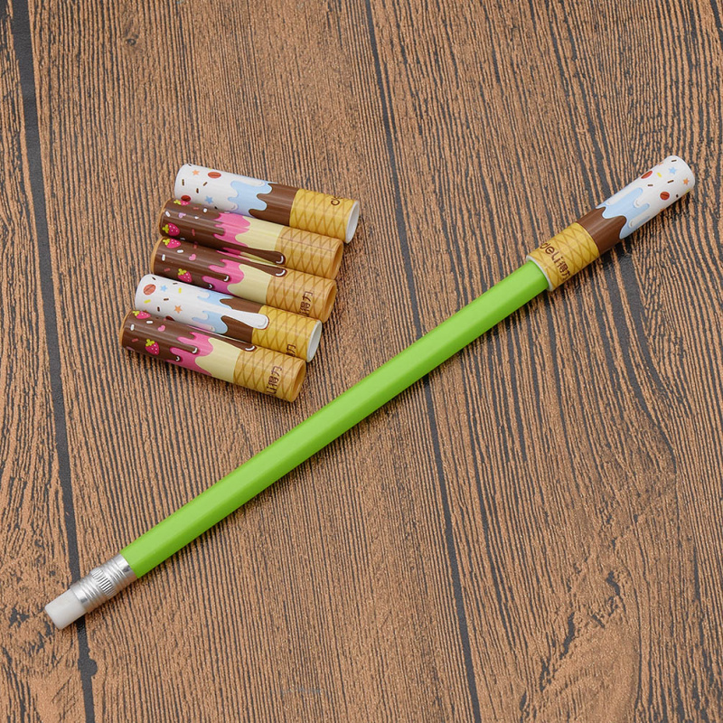 6Pcs Cute Pencil Cap Sleeve Cover Extender Plastic Protector School Supplies New