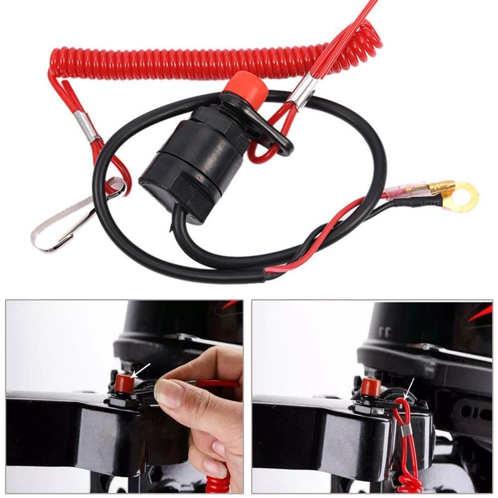 2 Pcs Boat Outboard Engine Motor Kill Stop Switch Safety Lanyard Clip For Yamaha