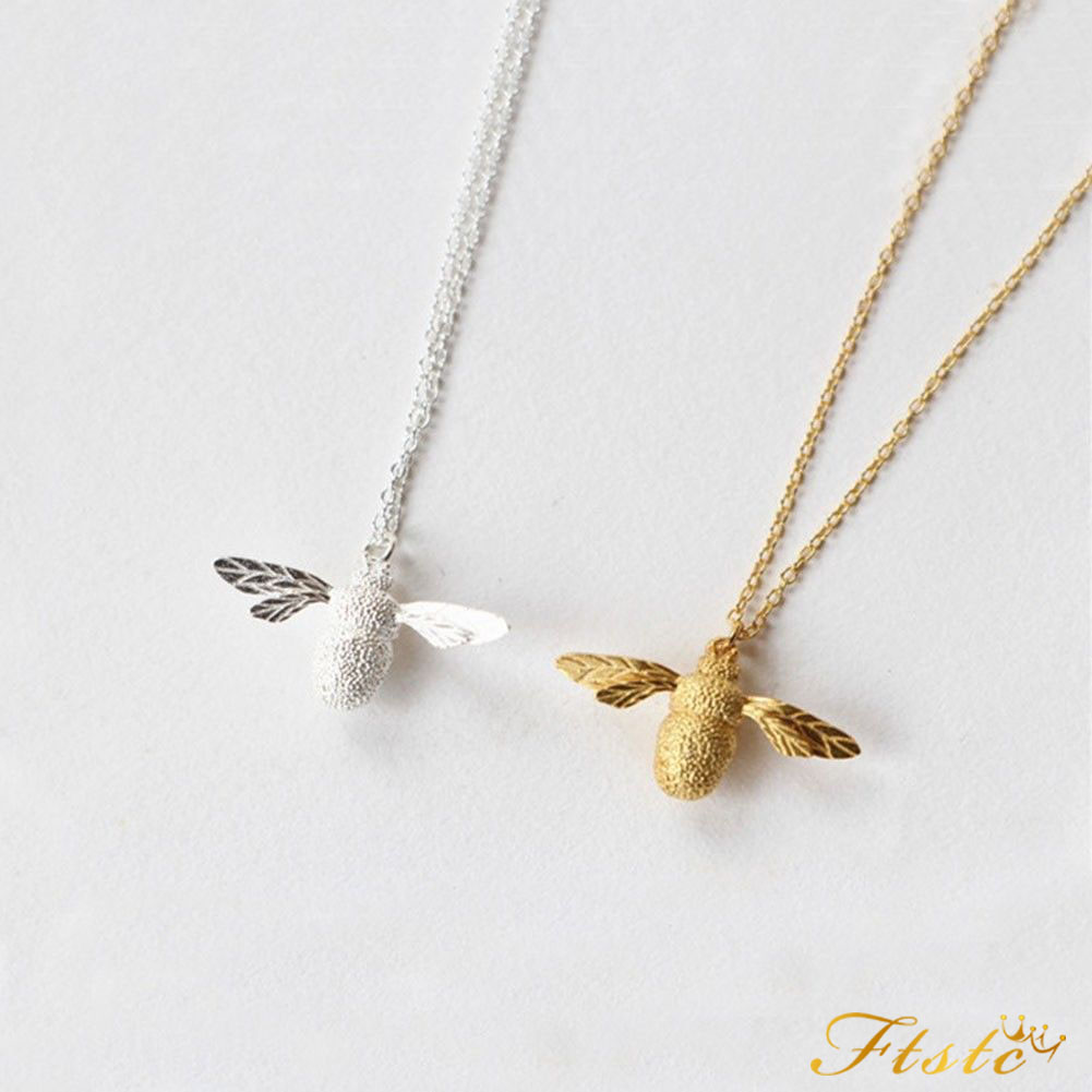 tiny bumble jewellery bee silver pendant necklace gold