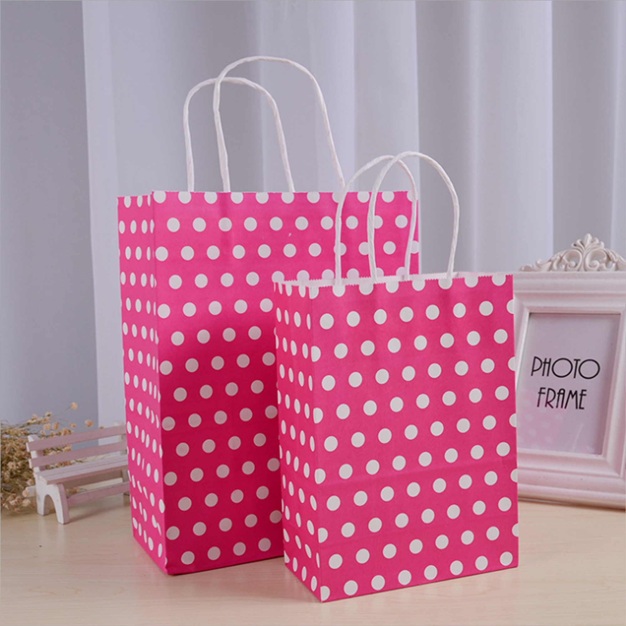 5.91x3.15x8.27in Purple Polka Dot Paper Kraft Christmas Gift Shopping Bag 12pcs
