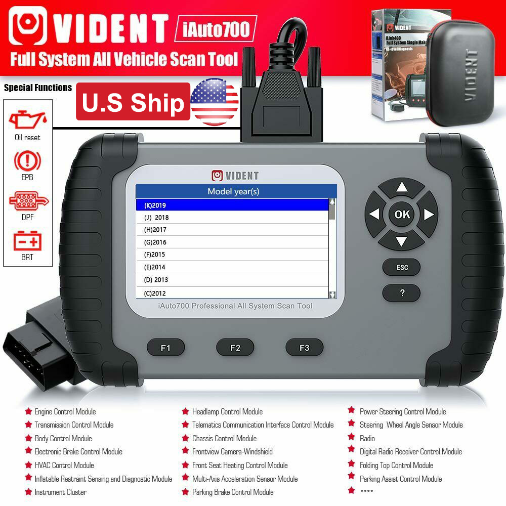 Vident iAuto700 Car ABS DPF EPB Oil Light Reset Engine OBD Diagnostic Scanner US