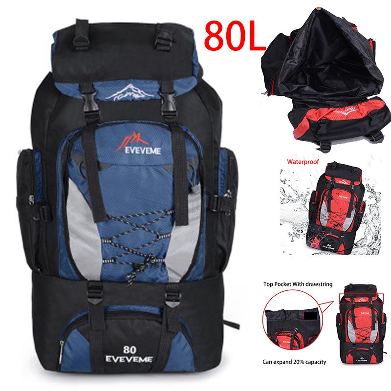 40b7ac766ea2 80L Camping Backpack Hiking Women Men Travel Sport Outdoor Rucksack ...