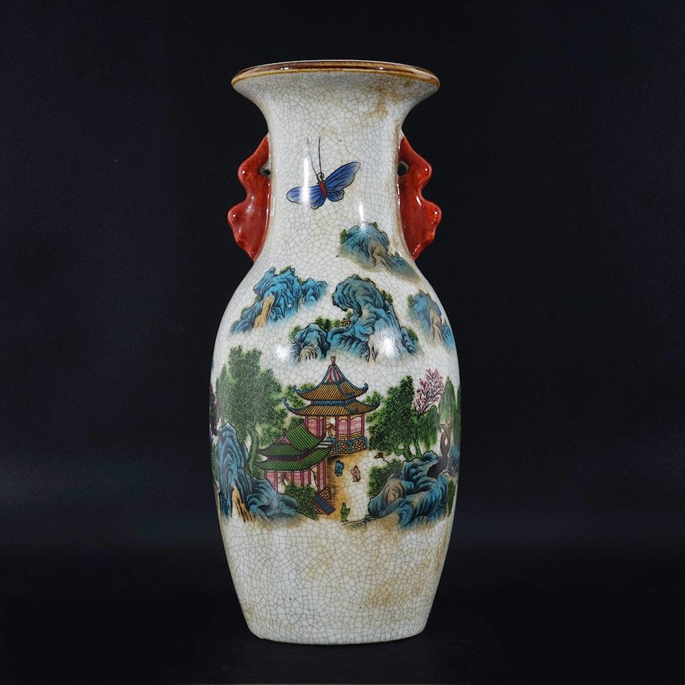 Details about Antique Chinese Famille Rose Vase Landscape Crackle  Collection QianLong Marks US