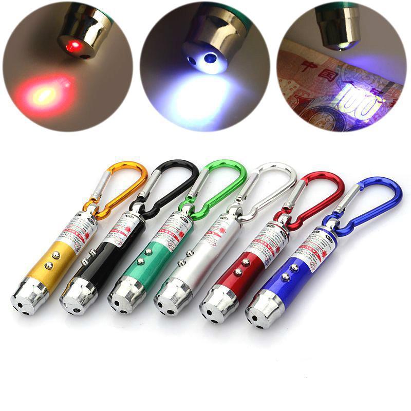 3in1 Laserpointer GELB LED Taschenlampe UV Licht inkl Batterien Laser Geldprüfer