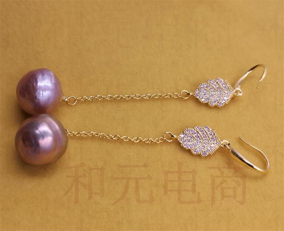 13-14mm Black Baroque Pearl Earrings silver hooks Fashion Flawless AAA Party