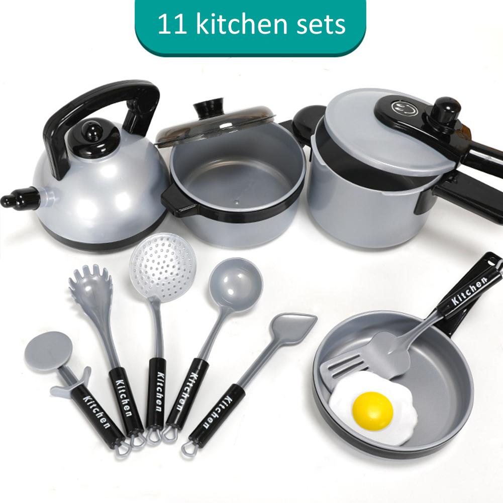 11pcs Kitchen Cooking Utensils Pots Pans Accessories Set Kids Play Childrens Toy