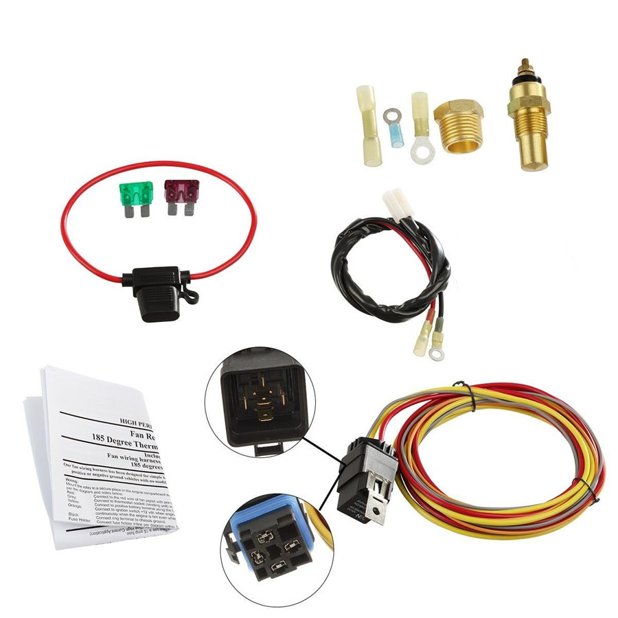 Auto Car Electric Cooling Fan Wiring Install Kit 185  165