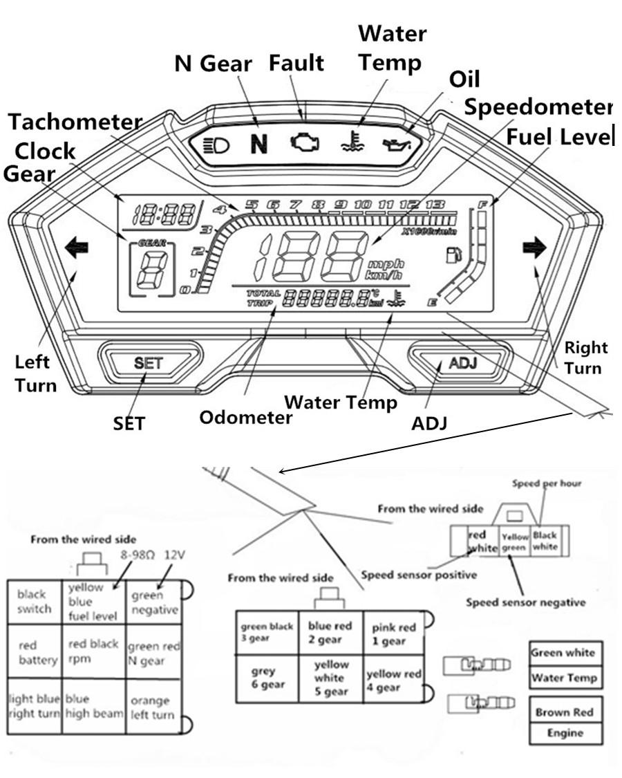 Universal Motorcycle Speedometer Odo Tacho Gauge Rpm Kmh