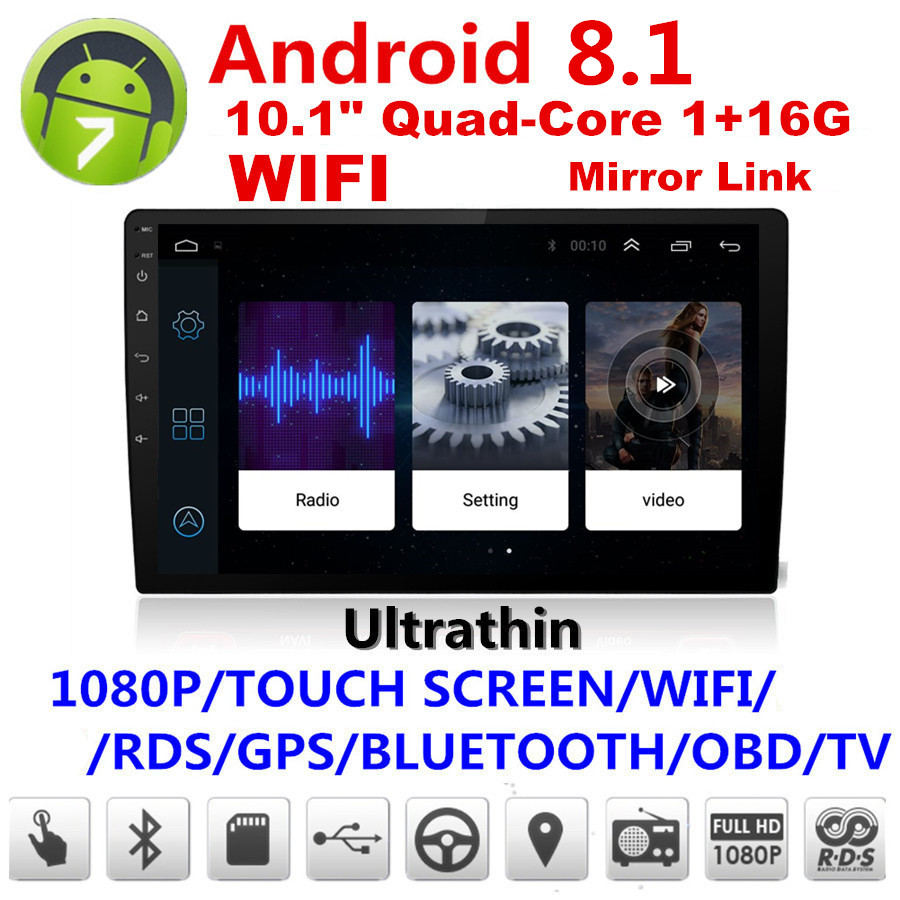 """10.1/"""" 2DIN Android 7.1 Car GPS Touch Stereo Radio MP5 Player Navi FM Mirror Link"""